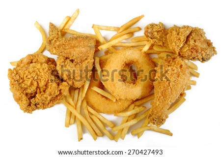 fried food on white background