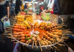 Fried food with sticks, Thai style food, Thailand street food ,Bangkok