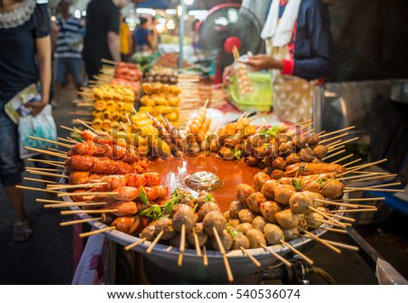 Fried food with sticks, Thai style food, Thailand street food ,Bangkok #540536074