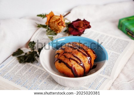 Fried Ice-cream is the dessert for free time. It's maกe with bread and filled by ice-cream. Photo stock ©