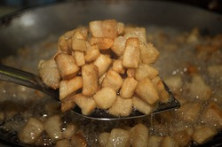 Fried lard to separate the oil For use in cooking keto diets. Healthy food suitable for keto diet animal oil, lard is saturated fat. overeating, saturated fat transforms into trans fat.
