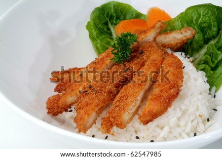 fried meat serve with white rice