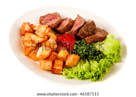 fried meat with potato on white background