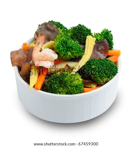 fried mix vegetable and shrimp in bowl isolate on white