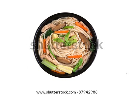 fried noodle asian food, isolate on white