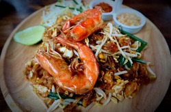 Fried noodle Thai style with prawns (Pad Thai Goong Sod). Popular food in Thailand. delicious Thai food. Ancient food. Style Thai. Popular food.