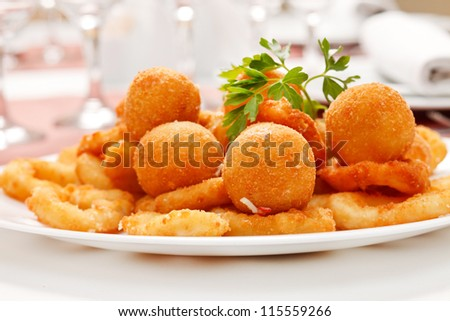 fried onion rings and cheese balls