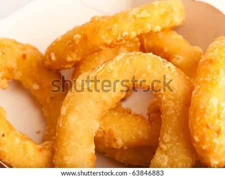 fried onion rings on a white background