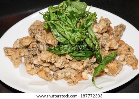 Fried oysters, traditional Taiwan food.