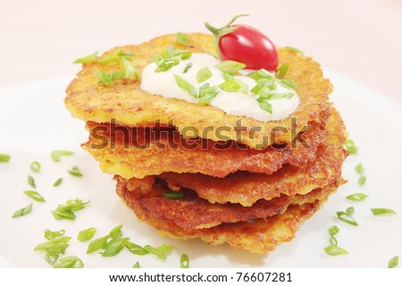 fried pancakes from the potatoes on the plate