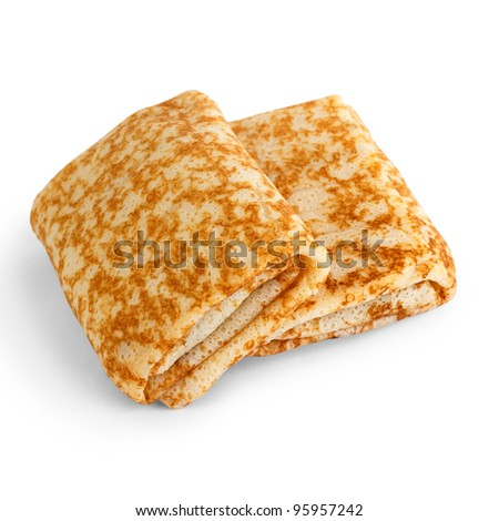 fried pancakes stuffed isolated white background