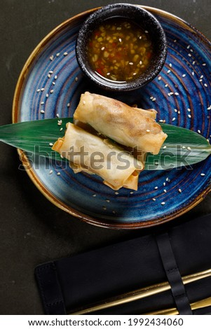 Fried pancakes stuffed with beef served with sauce Stock fotó ©