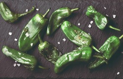 Fried peppers Pimientos de Padron or green pimientos  with sea salt  on a stone serving board top view, selected focus. Spanish tapas or appetizer dish