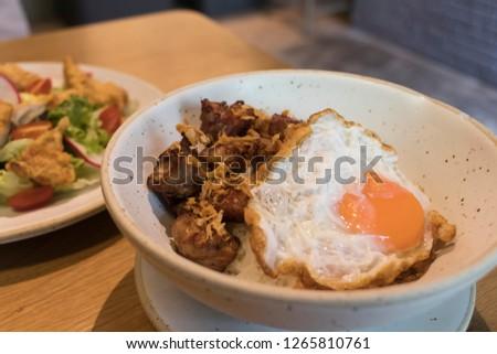Fried pork and fried egg