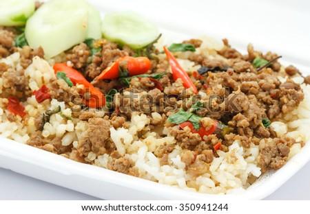 Fried Pork With Holy Basil ,Thai food 'Ka pao Moo' Zdjęcia stock ©