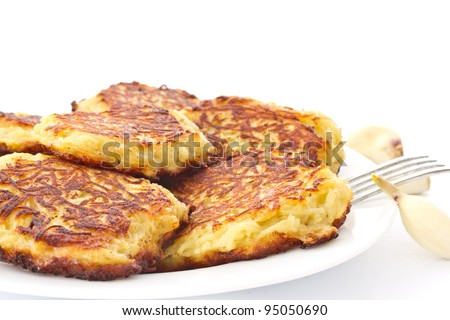 fried potato pancakes on a plate on a white background
