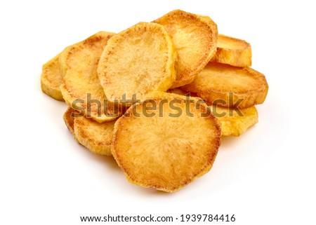 Fried Potato slices, isolated on white background. High resolution image. Photo stock ©