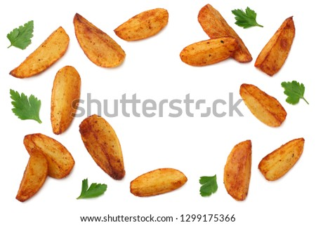 Fried potato wedges isolated on white background. top view. Fast food Stock photo ©