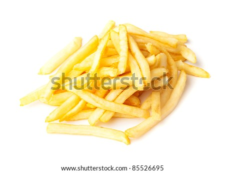 fried potatoes isolated on a white background