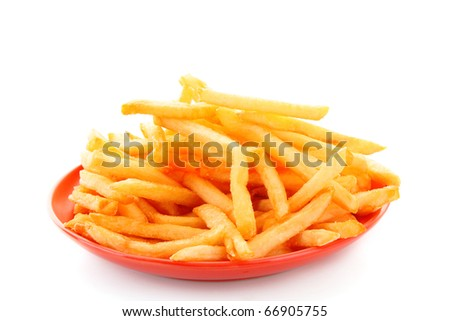 fried potatoes on the plate  on white background