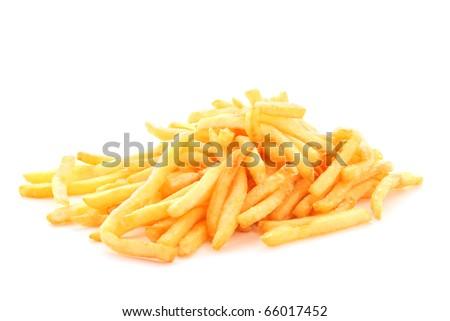 fried potatoes on white background