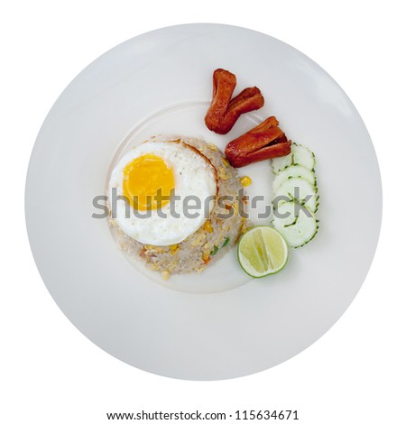 Fried rice and fried egg and sausage.