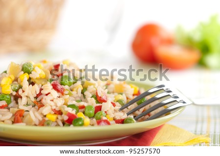 fried rice, chinese cuisine - stock photo