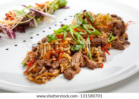 Fried Rice with Beef and Vegetables - stock photo