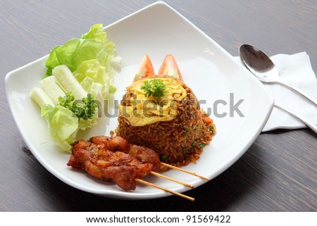 Fried Rice with Chicken Satay