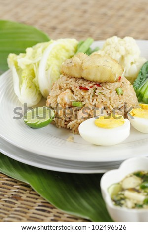 fried rice with fish and prawns - fried rice with fish and shrimp