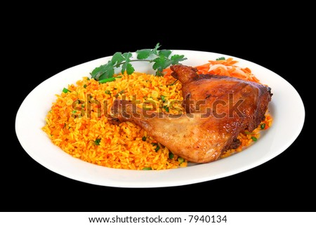 fried rice with roasted chicken dish on black background