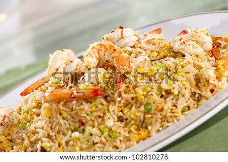 fried rice with shrimp, Chinese style fried rice with shrimps on top