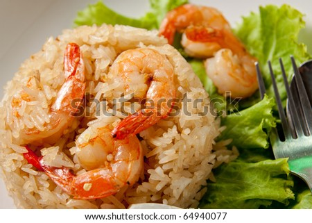 fried rice with shrimp close up.