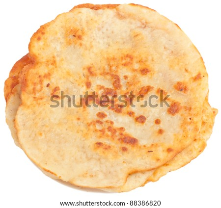 fried round pitas isolated on white