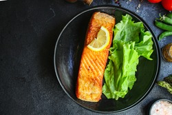 fried salmon fish bbq grill seafood portion meal on the table tasty serving size portion top view copy space for text food background rustic