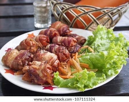 Fried sausage and bacon, Breakfast foods