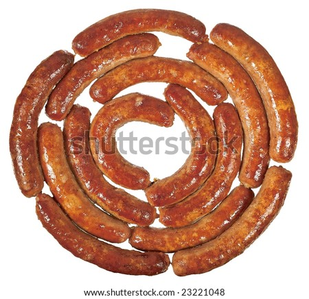 Fried sausage rolled link isolated on white background