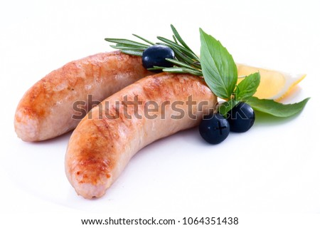 Fried sausages. Roasted sausages. Grilled sausages.