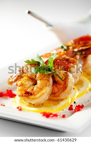 Fried Shrimps on Lemon Carpaccio with Sauce