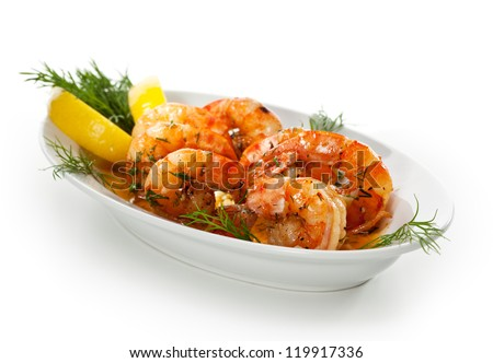 Fried Shrimps with Lemon and Sauce