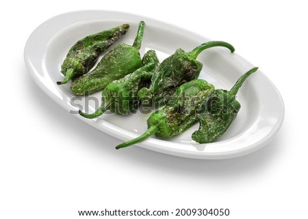 fried spanish padron peppers, pimientos de padron Foto stock ©