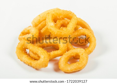 fried squid rings in batter, on an isolated white background  Сток-фото ©