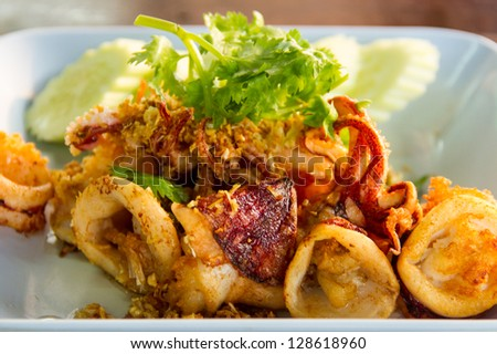 Fried squid with garlic with coriander