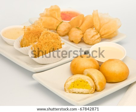 Fried sweet cream bun.  Fried taro with chicken.Toong-Thong (1 kind of spring rolls)