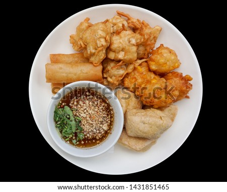 Fried tofu, fried taro, fried corn, Thai food