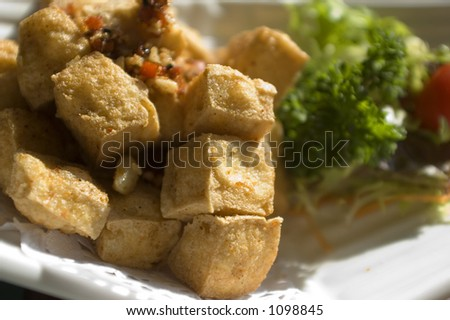 fried tofu with garnish