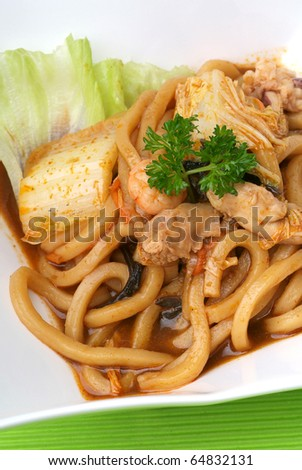 fried udon noodle - malaysian food