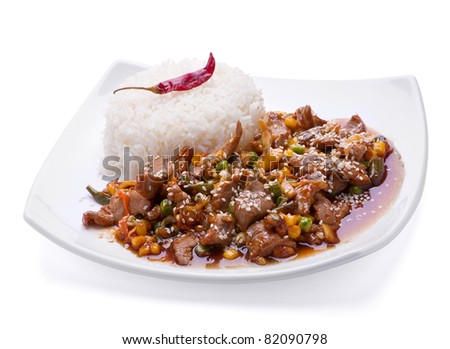 Fried veal meat slice with rice on plate