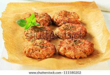 Fried vegetable burgers on baking parchment paper