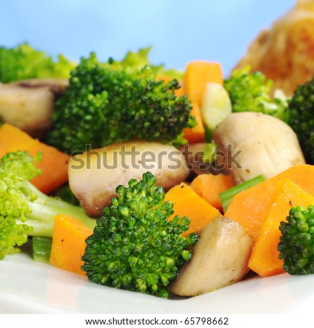 Fried vegetables (broccoli, mushroom, carrot, shallot) on white plate with chicken meat in the background (Selective Focus, Focus on the broccoli and the mushroom in the front) - stock photo